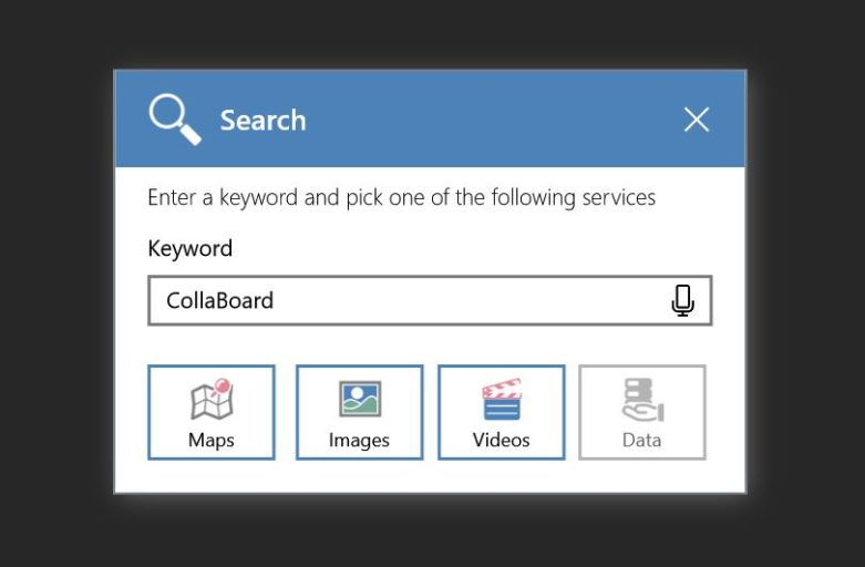 Search Video, Maps, Images and Data directly from CollaBoard - available on the Windows Store