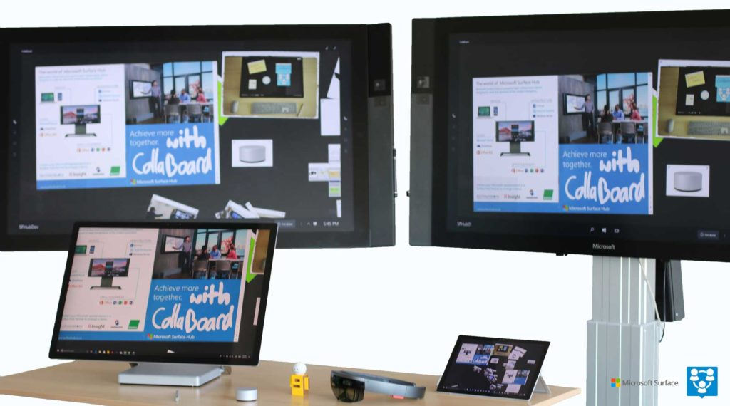Surface Hub, Surface Pro, Surface Studio und CollaBoard
